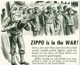 Zippo, II. Dünya Savaşı'nda cılız ama sönmeyen bir meşale oldu.